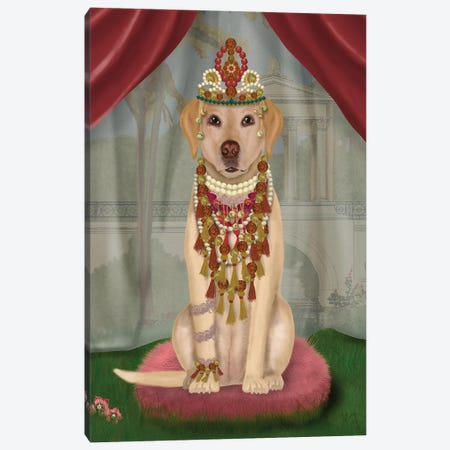Yellow Labrador and Tiara, Full I Canvas Print #FNK1552} by Fab Funky Canvas Art Print