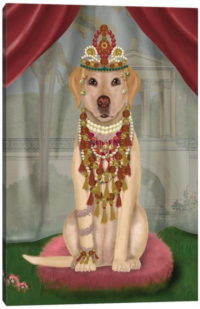 Yellow Labrador and Tiara, Full I Canvas Art Print