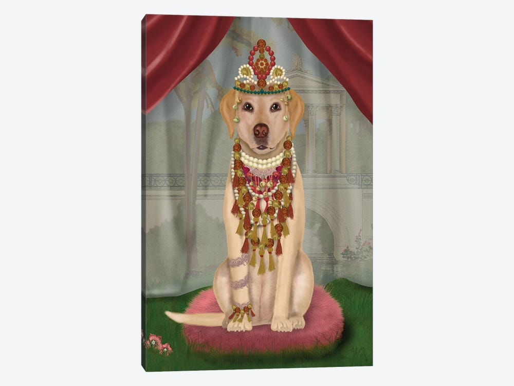 Yellow Labrador and Tiara, Full I by Fab Funky 1-piece Canvas Wall Art
