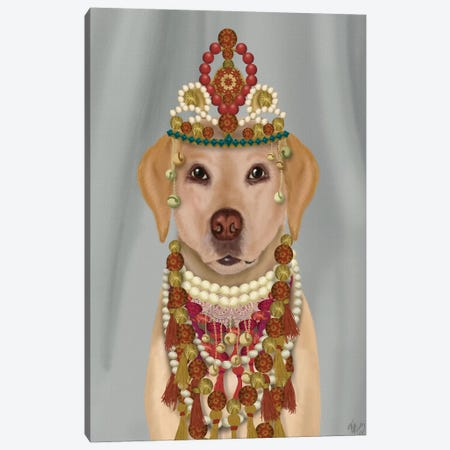 Yellow Labrador and Tiara, Portrait I Canvas Print #FNK1554} by Fab Funky Canvas Wall Art