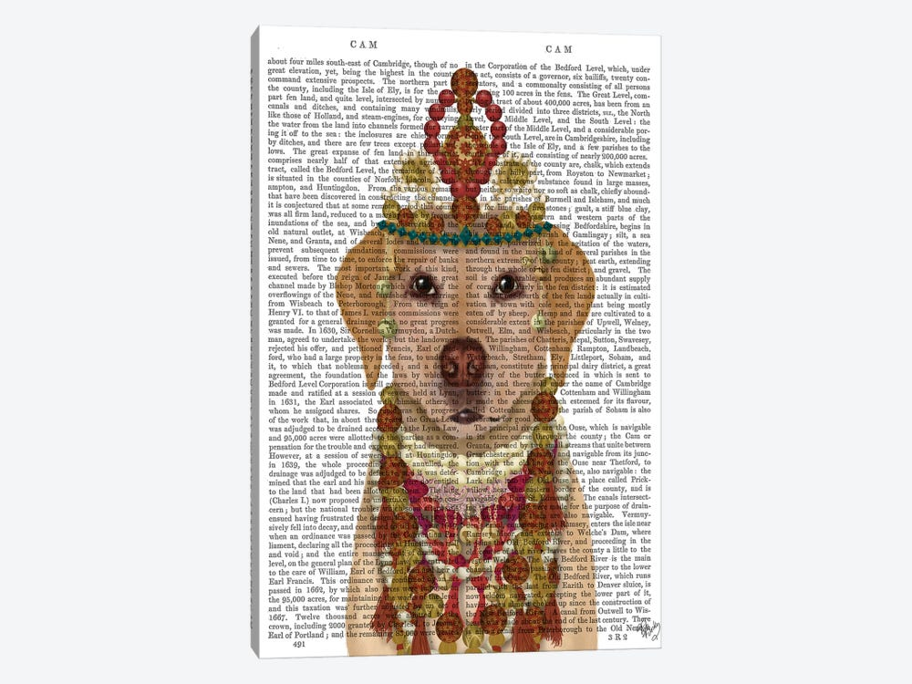 Yellow Labrador and Tiara, Portrait II by Fab Funky 1-piece Canvas Print