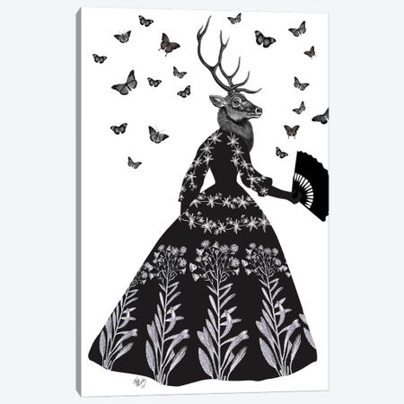 Black Deer II Canvas Print #FNK156} by Fab Funky Canvas Print