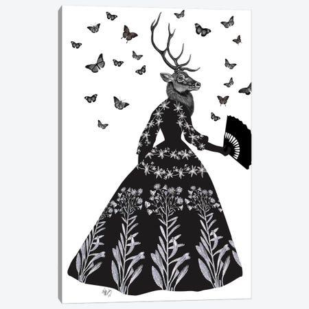 Black Deer II Canvas Print #FNK156} by Fab Funky Canvas Print