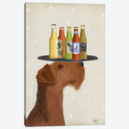 Airdale Beer Lover Canvas Print #FNK1570} by Fab Funky Canvas Art Print