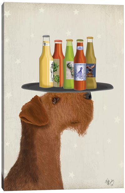 Airdale Beer Lover Canvas Art Print