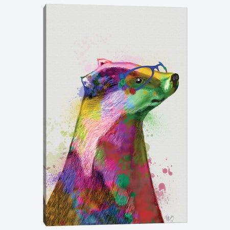 Badger Rainbow Splash 2 Canvas Print #FNK1572} by Fab Funky Art Print