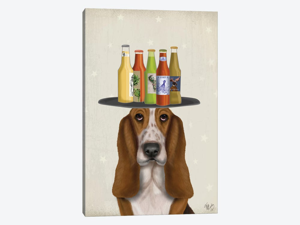 Basset Hound Beer Lover by Fab Funky 1-piece Canvas Wall Art