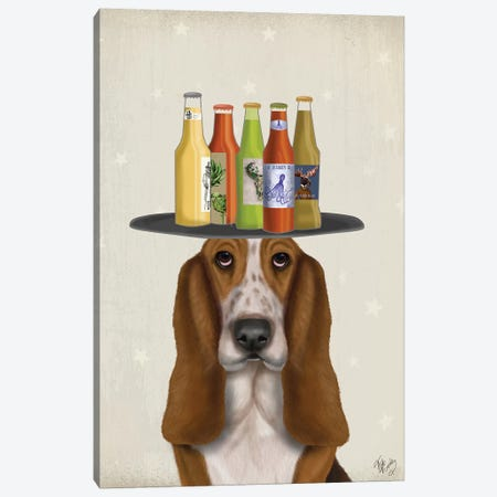 Basset Hound Beer Lover Canvas Print #FNK1578} by Fab Funky Canvas Art Print