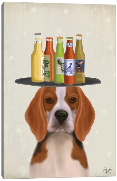 Beagle Beer Lover Canvas Art Print