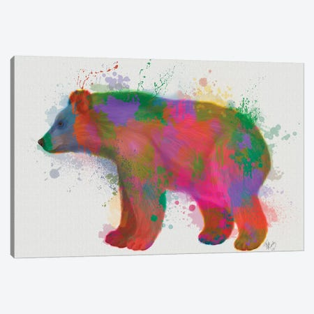 Bear Rainbow Splash 2 Canvas Print #FNK1582} by Fab Funky Canvas Artwork