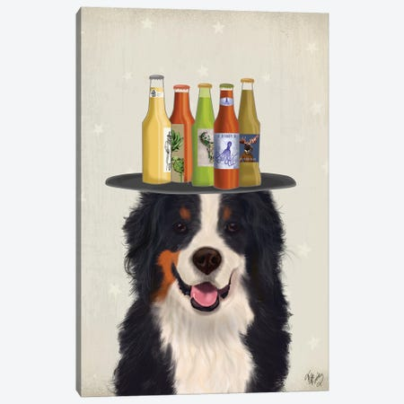 Bernese Beer Lover Canvas Print #FNK1583} by Fab Funky Canvas Wall Art
