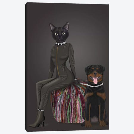 Black Cat and Rottweiler Canvas Print #FNK1589} by Fab Funky Canvas Artwork