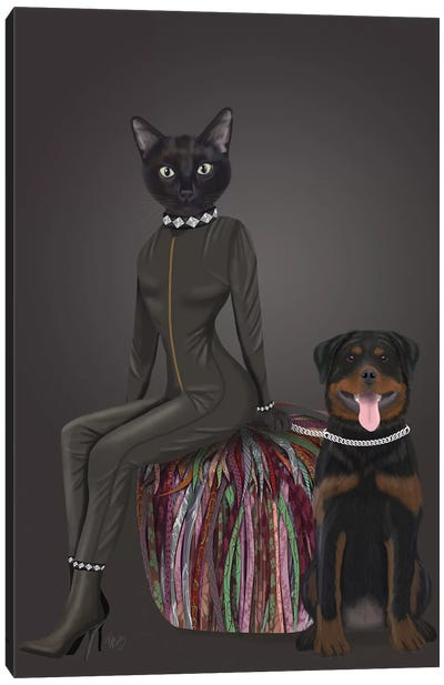 Black Cat and Rottweiler Canvas Art Print