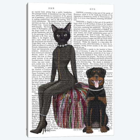 Black Cat and Rottweiler Book Print Canvas Print #FNK1590} by Fab Funky Canvas Art Print