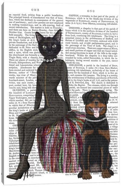 Black Cat and Rottweiler Book Print Canvas Art Print