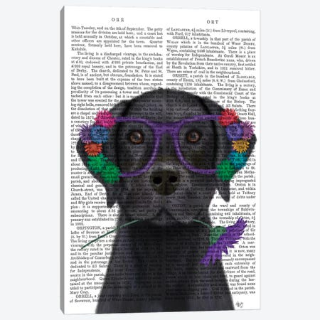 Black Labrador and Flower Glasses Book Print Canvas Print #FNK1592} by Fab Funky Canvas Print