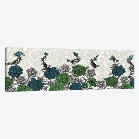Blooming Birds, Blue and Green Canvas Print #FNK1594} by Fab Funky Canvas Artwork