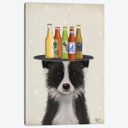 Border Collie Black White Beer Lover Canvas Print #FNK1595} by Fab Funky Canvas Artwork