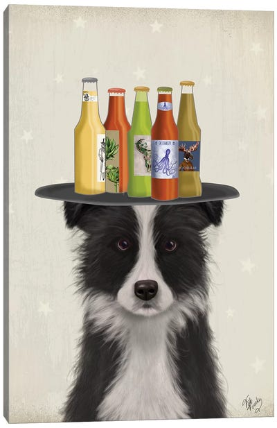 Border Collie Black White Beer Lover Canvas Art Print