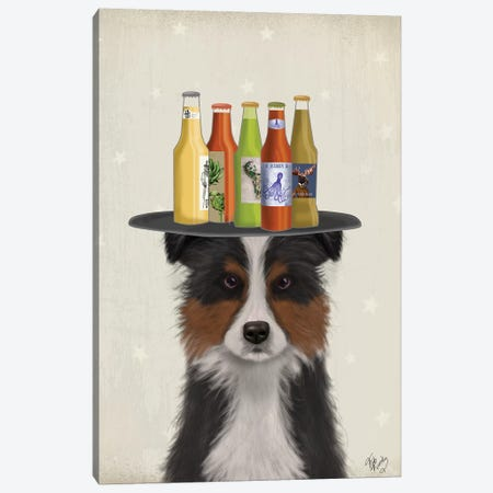 Border Collie Tricolour Beer Lover Canvas Print #FNK1596} by Fab Funky Canvas Artwork