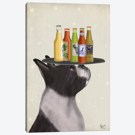 Boston Terrier Beer Lover Canvas Print #FNK1597} by Fab Funky Canvas Art