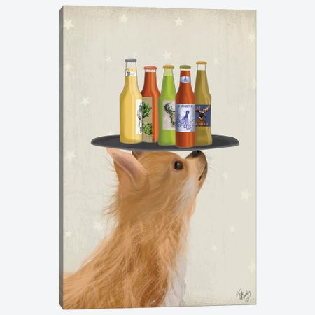 Chihuahua Beer Lover Canvas Print #FNK1599} by Fab Funky Art Print