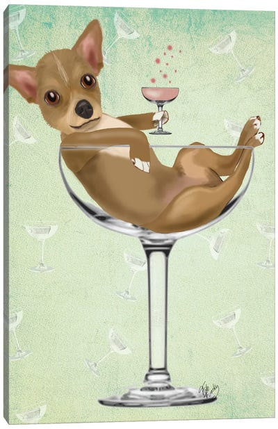 Chihuahua In Cocktail Glass Canvas Art Print