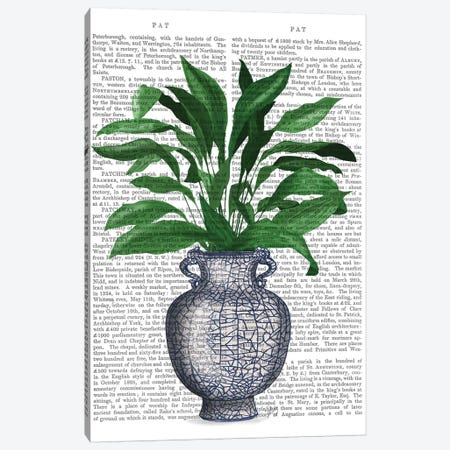 Chinoiserie Vase 2, With Plant Book Print 3-Piece Canvas #FNK1601} by Fab Funky Art Print