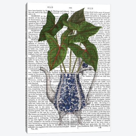 Chinoiserie Vase 4, With Plant Book Print 3-Piece Canvas #FNK1603} by Fab Funky Canvas Art Print