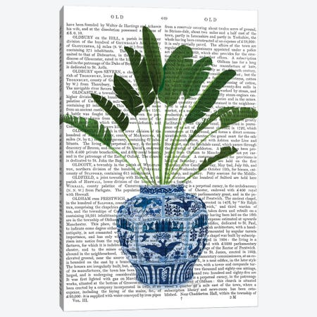 Chinoiserie Vase 5, With Plant Book Print 3-Piece Canvas #FNK1604} by Fab Funky Canvas Wall Art