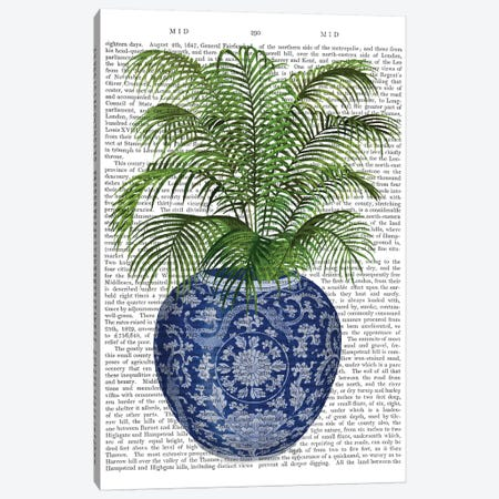 Chinoiserie Vase 6, With Plant Book Print 3-Piece Canvas #FNK1605} by Fab Funky Canvas Wall Art