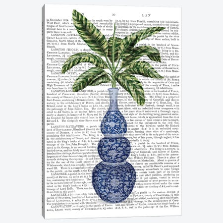 Chinoiserie Vase 7, With Plant Book Print 3-Piece Canvas #FNK1606} by Fab Funky Canvas Artwork