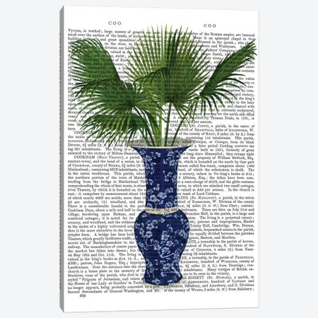 Chinoiserie Vase 8, With Plant Book Print 3-Piece Canvas #FNK1607} by Fab Funky Canvas Artwork