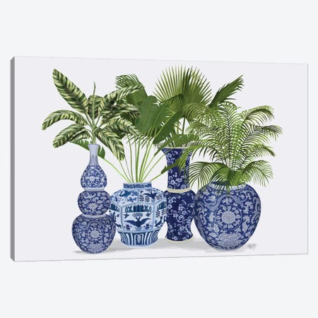 Chinoiserie Vase Group 1 3-Piece Canvas #FNK1608} by Fab Funky Canvas Art Print