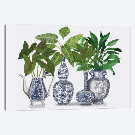 Chinoiserie Vase Group 2 3-Piece Canvas #FNK1609} by Fab Funky Canvas Print