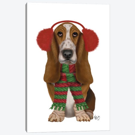 Christmas Des - Basset Hound and Ear Muffs Canvas Print #FNK1610} by Fab Funky Canvas Art