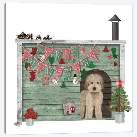 Christmas Des - Christmas Kennel - Homespun Canvas Print #FNK1615} by Fab Funky Canvas Print