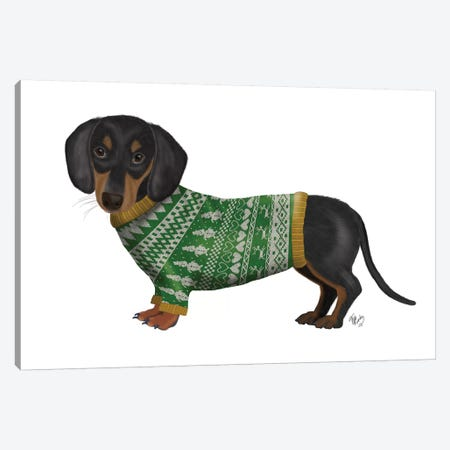 Christmas Des - Dachshund and Christmas Sweater Canvas Print #FNK1617} by Fab Funky Canvas Print