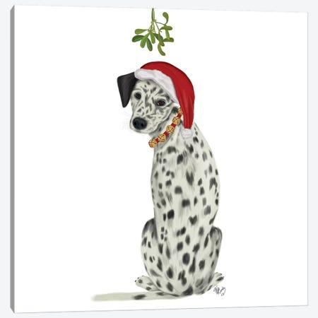 Christmas Des - Dalmatian Mistletoe Canvas Print #FNK1619} by Fab Funky Canvas Art