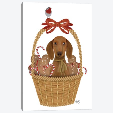 Christmas Des - Dog in Basket with Gingerbread Men Canvas Print #FNK1620} by Fab Funky Canvas Print
