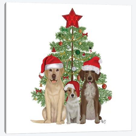 Christmas Des - Dog Trio Christmas Tree Canvas Print #FNK1621} by Fab Funky Canvas Art Print