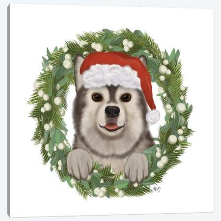Christmas Des - Husky Wreath Canvas Print #FNK1622} by Fab Funky Canvas Art Print