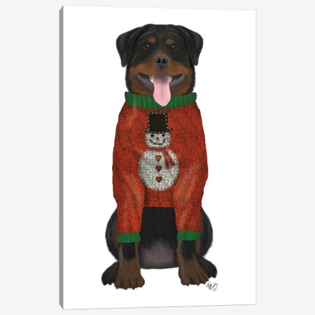 Christmas Des - Rottweiler in Christmas Sweater Canvas Print #FNK1624} by Fab Funky Canvas Art