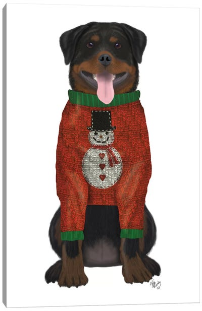 Christmas Des - Rottweiler in Christmas Sweater Canvas Art Print