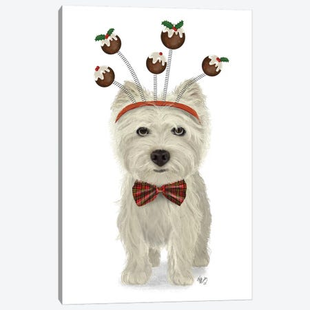Christmas Des - Westie and Christmas Puds Canvas Print #FNK1626} by Fab Funky Canvas Artwork