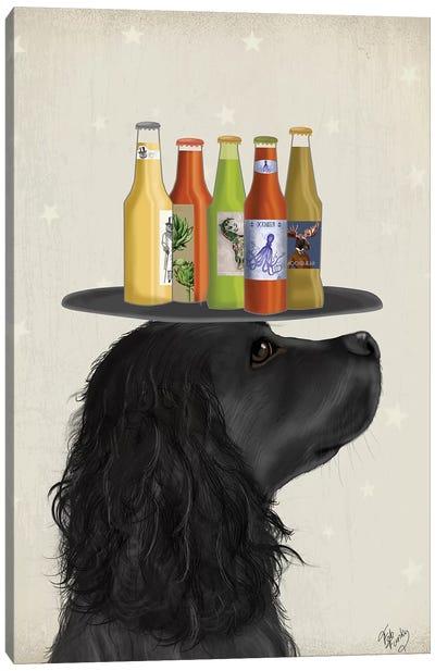Cocker Spaniel Black Beer Lover Canvas Art Print