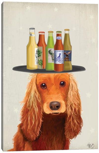 Cocker Spaniel Golden Beer Lover Canvas Art Print