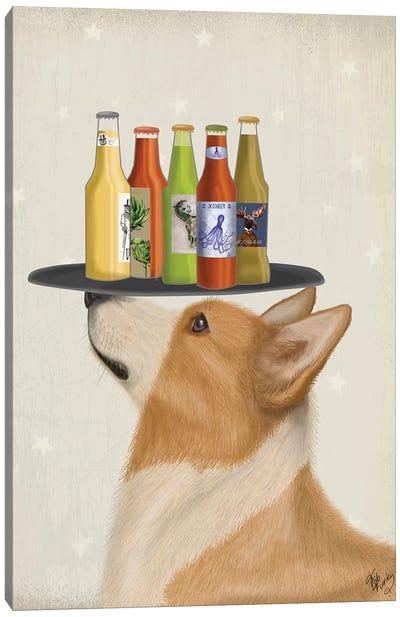 Corgi Tan White Beer Lover Canvas Art Print