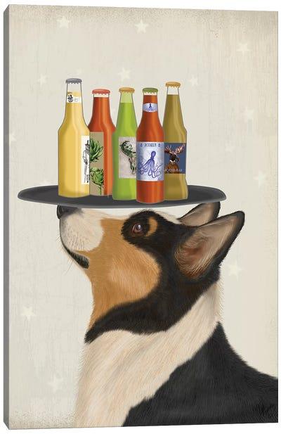 Corgi Tricolour Beer Lover Canvas Art Print