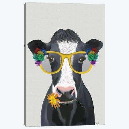 Cow and Flower Glasses Canvas Print #FNK1632} by Fab Funky Canvas Wall Art